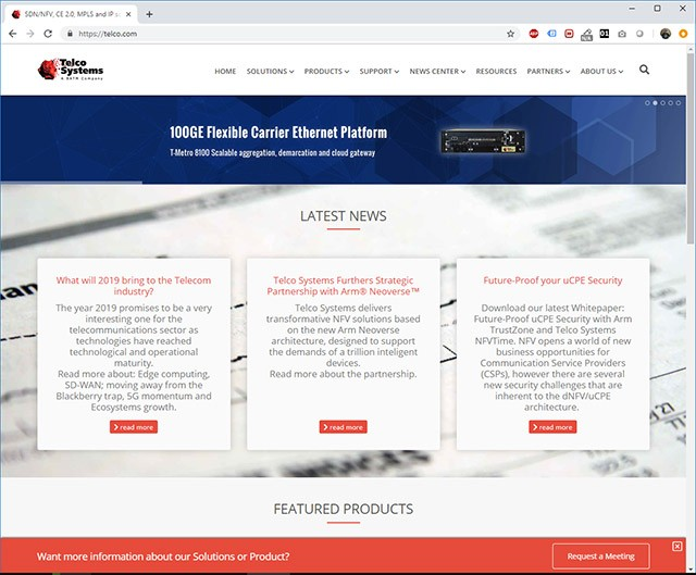 Telco Systems Website